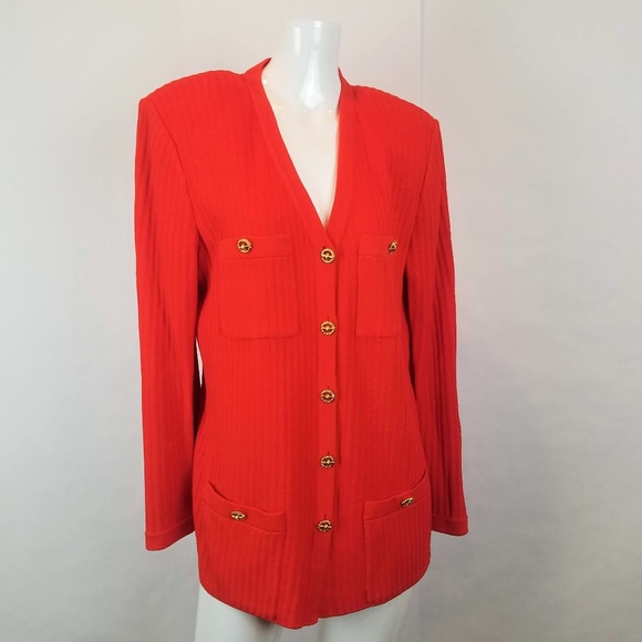 St. John Sweaters - St John Orange Vtg Button Down Cardigan Sweater